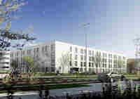Das BMW-Hotel in München Moosach soll im Sommer 2015 eröffnen. Bild: Strabag SRE