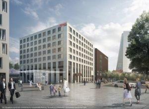 Visualisierung des neuen Hampton by Hilton. Bild: Groß & Partner
