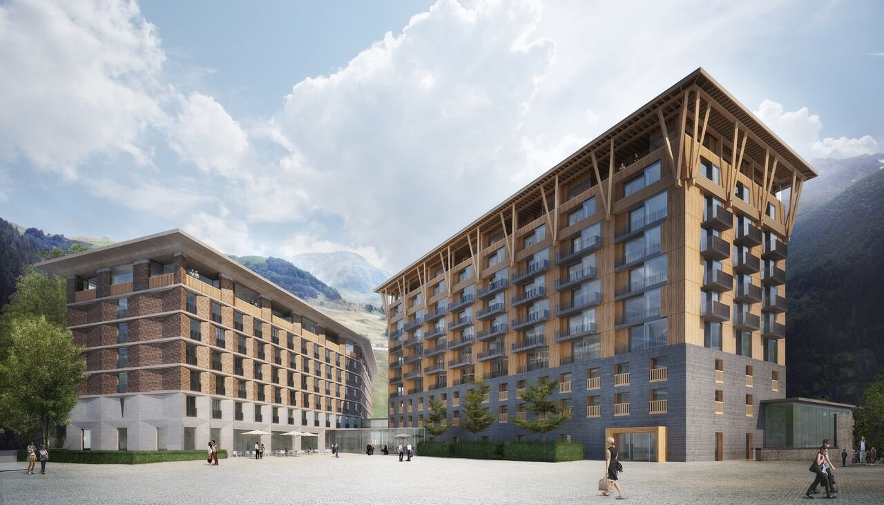 Visualisierung Hotelneubau Andermatt Swiss Alps