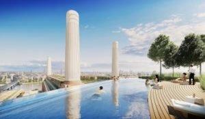 Visualisierung Dachswimmingpool mit Aussicht auf die Battersea Power Station und die Themse. Bild: PPHE Hotel Group