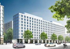 Das Hampton by Hilton in der Otto-Braun-/Mollstraße in Berlin soll 2017 fertiggestellt werden; Bild: Collignon Architektur und Design GmbH