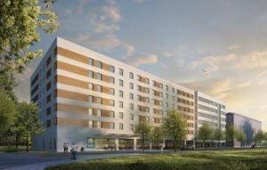 Rendering Comfort Hotel im Gewerbegebiet Kelsterbach. Bild: Macina digital film GmbH & Co KG