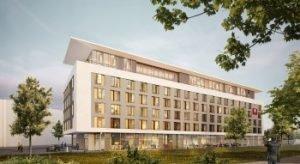Rendering Außenansicht Leonardo Hotel in Ulm. Bild: Pro Invest