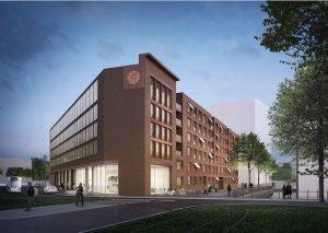 Das geplante Gebäude im Zollhafen Mainz. Bild: Münchner Grund Immobilien Bauträger GmbH