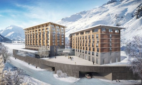 Radisson Blu (rechts) ist über eine Passage mit den nebenstehenden Gotthard Residences