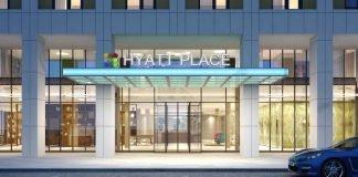 Rendering des Eingangs des Hyatt Place Frankfurt Airport