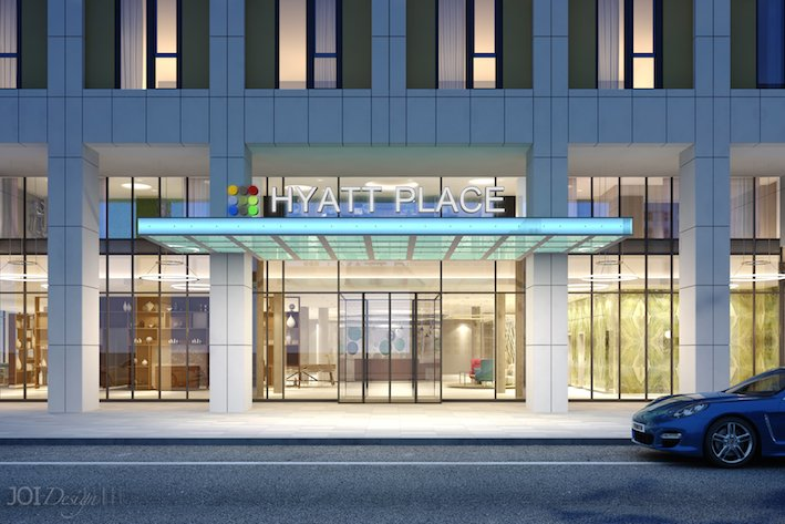 Hyatt Place Eingang Rendering JOI-Design