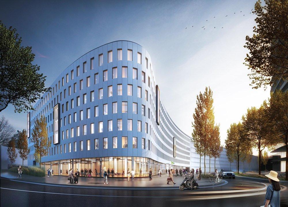 Rendering der geschwungenen Fassade des neuen Holiday Inn Express in Düsseldorf