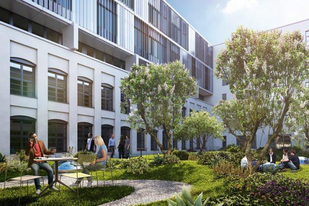 Das Inkubatorgebäude soll über einen begrünten Innenhof verfügen. Bild: Art-Invest Real Estate, Accumulata Immobilien Development