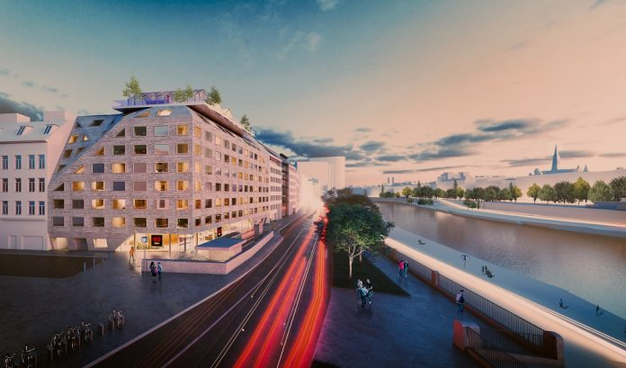 Rendering des Radisson Red Vienna direkt am Donaukanal. Bild: Innocad Architecture