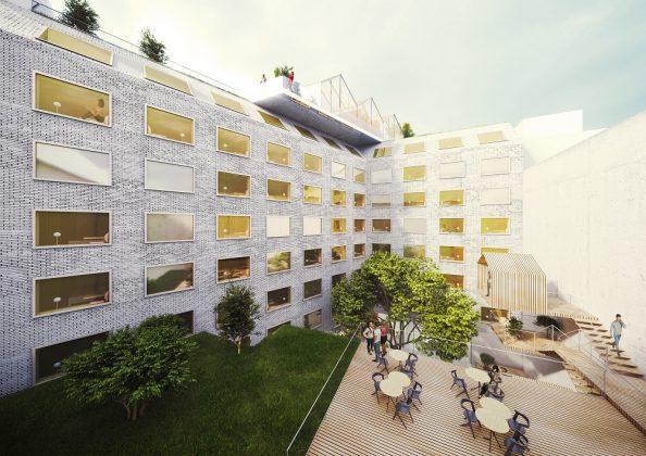 Rendering des Innenhofs mit Garten und einer Terrasse auf mehreren Ebenen. Bild: Innocad Architecture