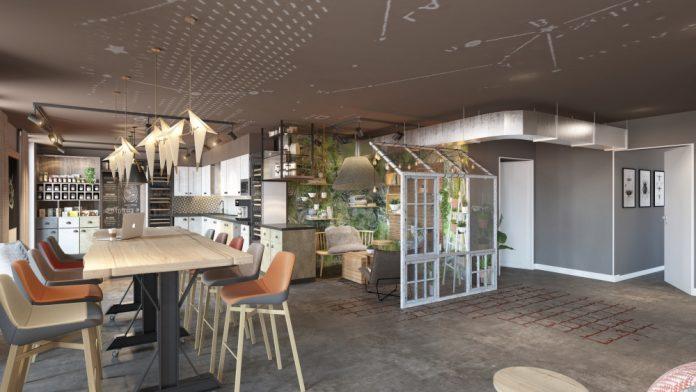Rendering der Lobby im Stay Kooook in Nürnberg. Bild: SV Hotel AG