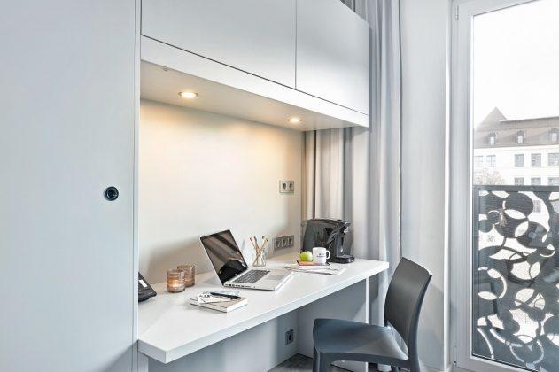 Ein Arbeitsplatz für Longstay-Gäste. Bild: H-Hotels.com