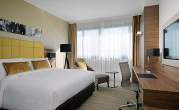 Hotelzimmer des Bonn Marriott Hotel.