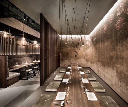 Enso Sushi & Grill verbindet Asienflair mit hochwertigen Materialien und natürlichen Farben.