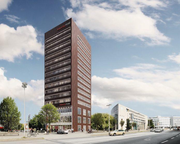 Rendering des IntercityHotel Hannover Hauptbahnhof Ost. Bild: Bauwo Grundstücksgesellschaft mbH
