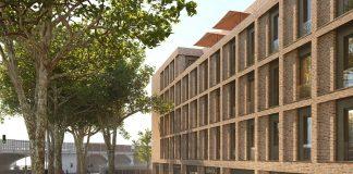 Rendering des Ruby Köln-Ehrenfeld mit Hotelzimmern, Longstay-Konzept und Co-Working-Space. Bild: Ruby Hotels