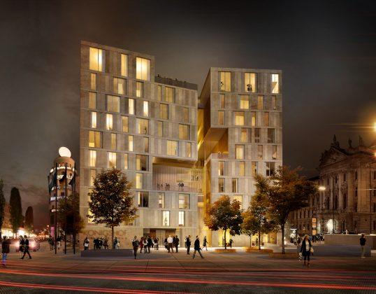 Der neue Königshof. Geplante Fertigstellung: Ende 2021, Bild: Nieto Sobejano Arquitectos