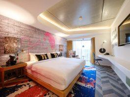 Graphische Designs in kräftigen Farben prägen die Zimmer im Nhow London. Bild: Owen Billcliffe Photography
