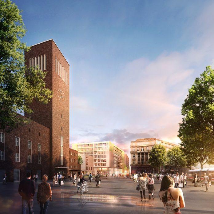 Rendering des Hauptbahnhofs mit den Hotel-Neubauten. Bild: GBI AG/Greeen! Architecs