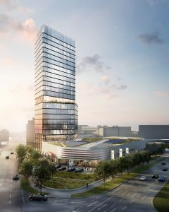 Rendering des Porsche Design Towers Stuttgart. Bild: Radisson Hotel Group