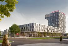 Rendering des Leonardo Royal Hotels in Berlin-Adlershof. Bild: CHA Campus-Hotel Adlershof GmbH