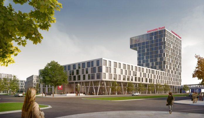 Rendering des Leonardo Royal Hotels in Berlin-Adlershof. Bild: CHA Campus-Hotel Adlershof GmbH