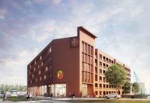 Rendering des Super 8 by Wyndham Zollhafen Mainz. Bild: Gorgeous Smiling Hotels GmbH
