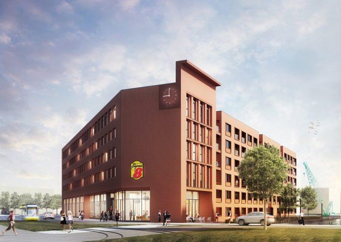 Rendering des Super 8 by Wyndham Zollhafen Mainz. Bild: Gorgeous Smiling Hotels GmbH
