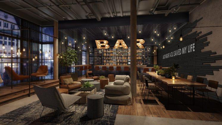 Die Bar im Me and All Kiel. Bild. A. Wellander/Me and All Hotels