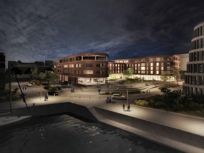 Rendering des neuen Radisson Hotel Rostock bei Nacht. Bild: Tchoban Voss Architekten Hamburg