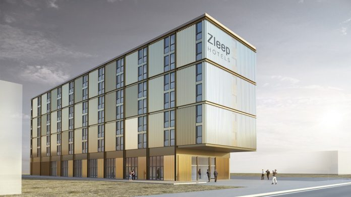 Rendering des geplanten Zleep-Hotels in Hamburg. Bild: Isochrom, Wien