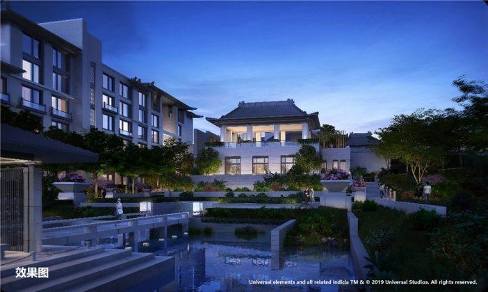 Visualisierung des Nuo Resort – Universal Beijing Resort. Bild: 2019 Universal Studios
