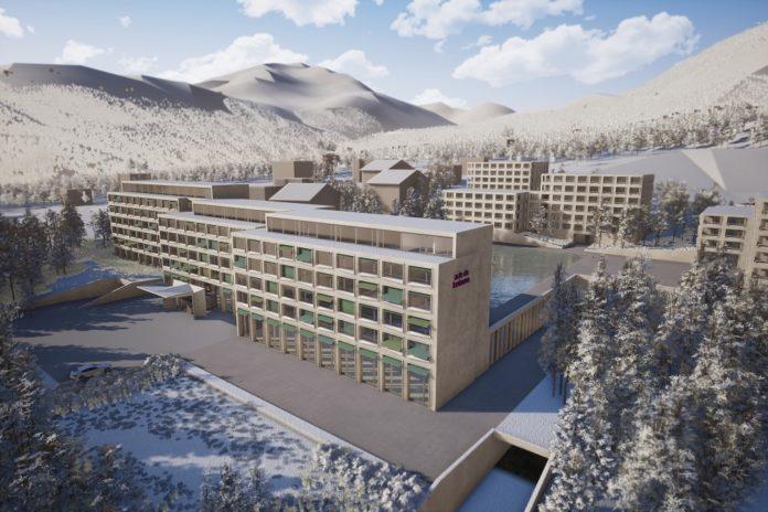 Rendering des Hotel- und Apartment-Komplexes von Mövenpick in Disentis. Bild: Maier Hess Architekten