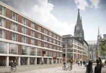 Visualisierung des Radisson Red Hotel Cologne. Bild: Gerchgroup/Rendertaxi