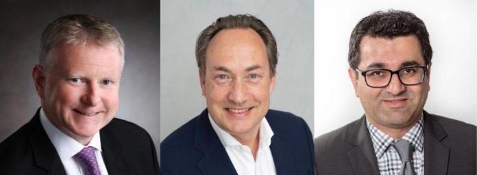 Drei neue Positionen bei Choice Hotels: Jonathan Mills, Oliver Macpherson und Neerav Dudhwala (von links). Bild: Choice Hotels