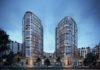 Die beiden Wohntürme im Hafenpark Quartier Frankfurt. Bild: B&L Gruppe/Visualisierung XOIO