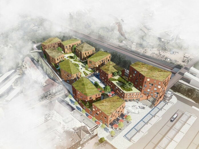 Rendering des neuen Quartiers in Leverkusen. Bild: Kadawittfeldarchitektur