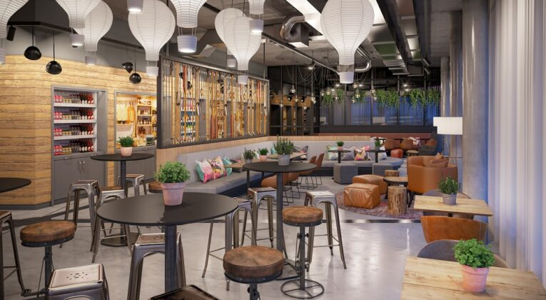 Einblick in die Moxy-Lounge. Bild: AI MXY Hotel Operations