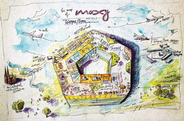 Plan des neuen Moxy Köln Bonn Airport. Bild: AI MXY Hotel Operations