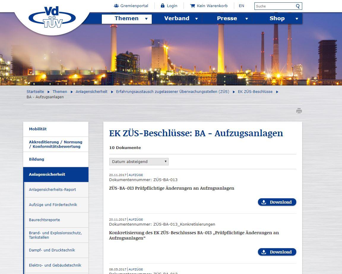"""""""EK ZÜS-Beschlüsse: BA – Aufzugsanlagen"""""""