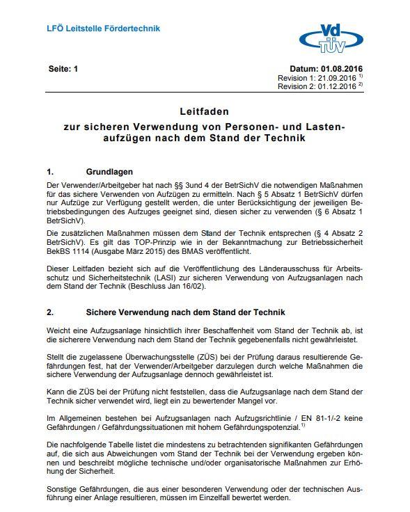 """""""Leitfaden zur sicheren Verwendung von Personen- und Lastenaufzüge nach dem Stand der Technik"""" vom Verband der TÜV e. V. (VdTÜV)"""